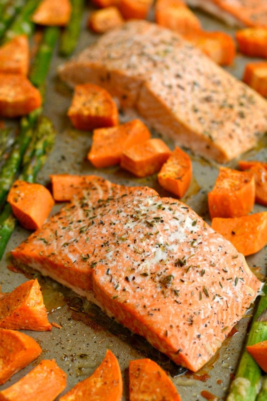 Salmon Sweet Potato and Asparagus Sheet Pan Recipes