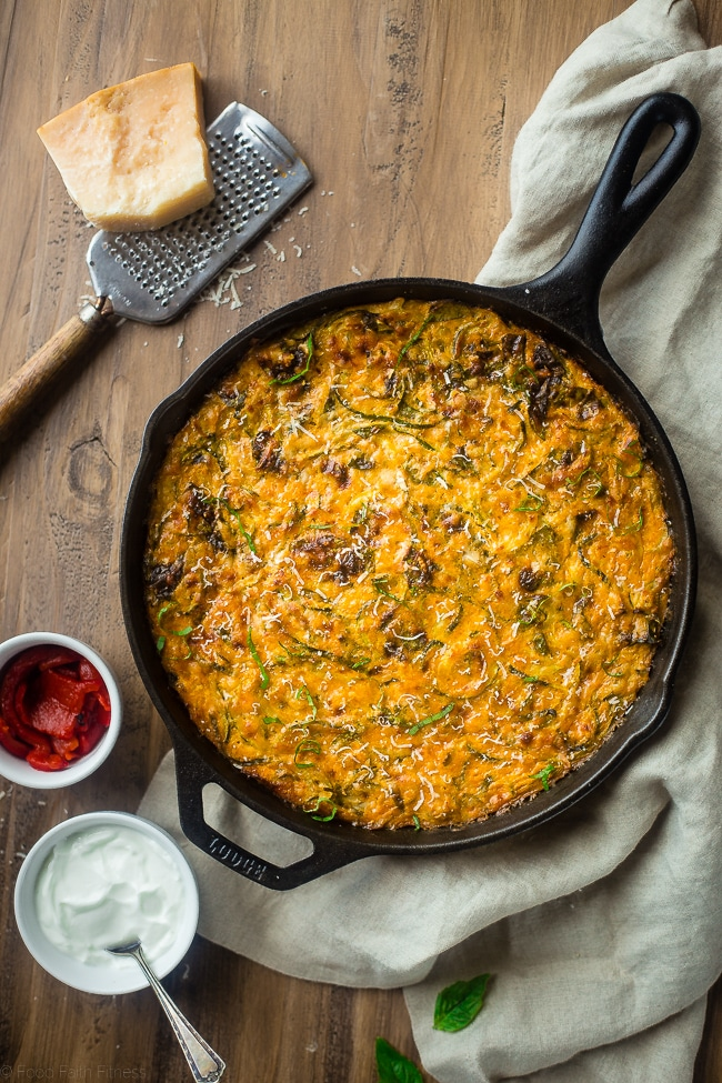 Spiralized Zucchini Casserole With Red Peppers & Spinach