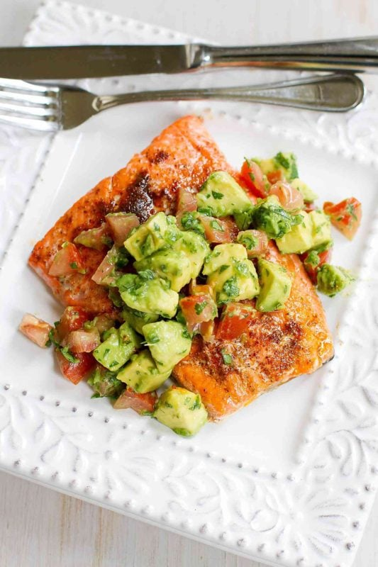 Roasted Salmon topped with Fresh Avocado Salad