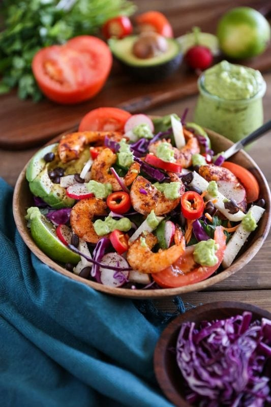 Healthy Shrimp Taco Salad Recipe