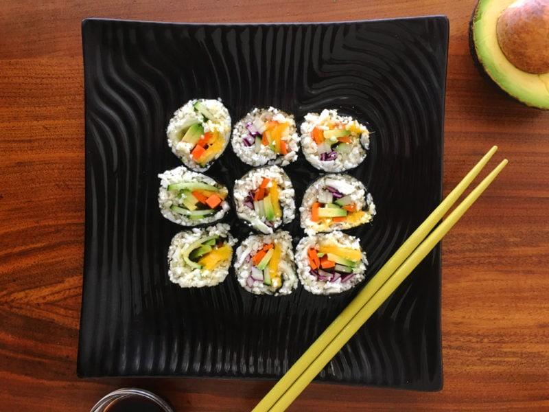 vegan avocado sushi roll