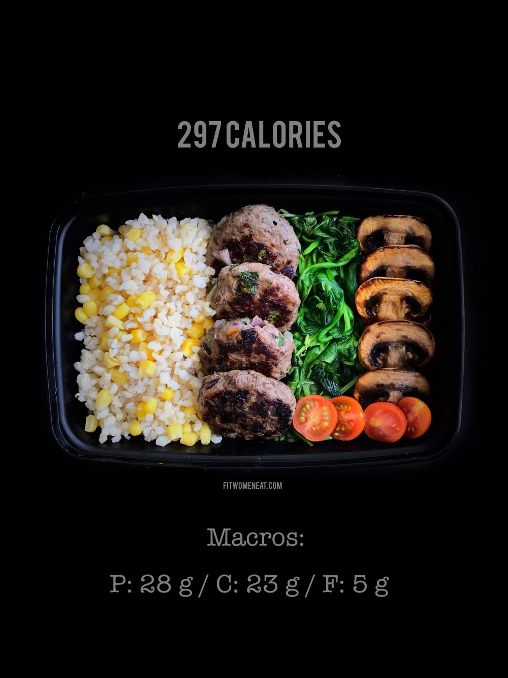 Beef Patties-Sweet Corn Rice and Sautéed Veggies