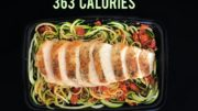Zoodles with Tomato Oregano Sauce and Grilled Chicken Breast