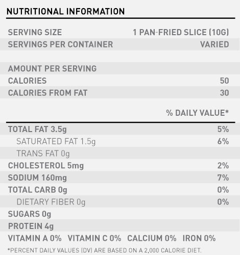 Farmer John Classic Bacon Nutrition Label