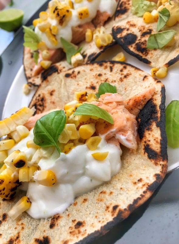 cajun salmon tacos with roasted corn