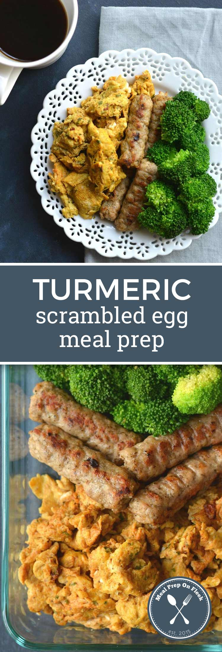 turmeric eggs, broccoli, and sausage