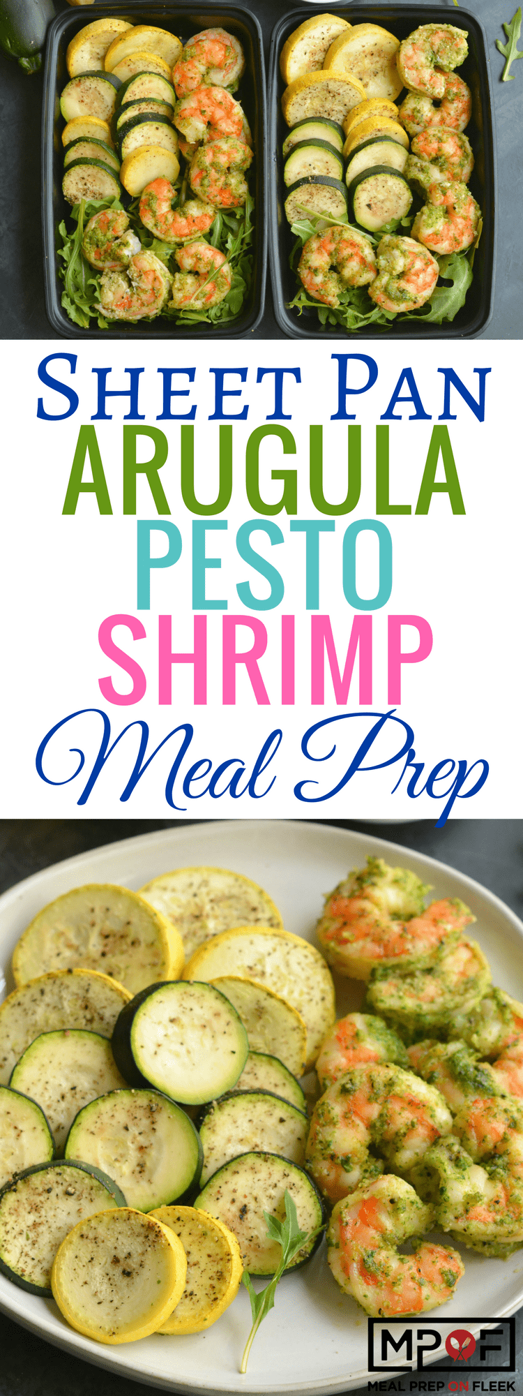 Sheet Pan Arugula Pesto Shrimp Meal Prep