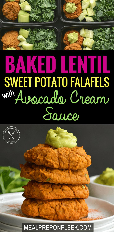 Baked Lentil Sweet Potato Falafels with Avocado Cream Sauce