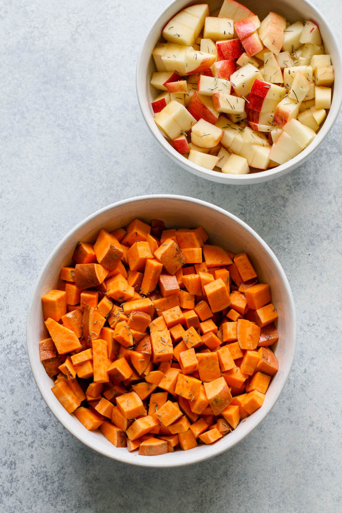 Sweet Potato and Apple Hash Meal Prep Ingredients