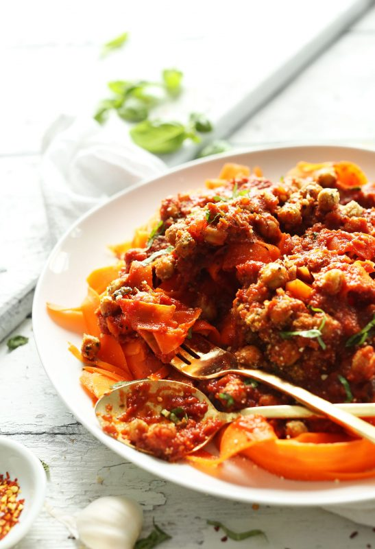 Chickpea Bolognese with Carrot Noodles