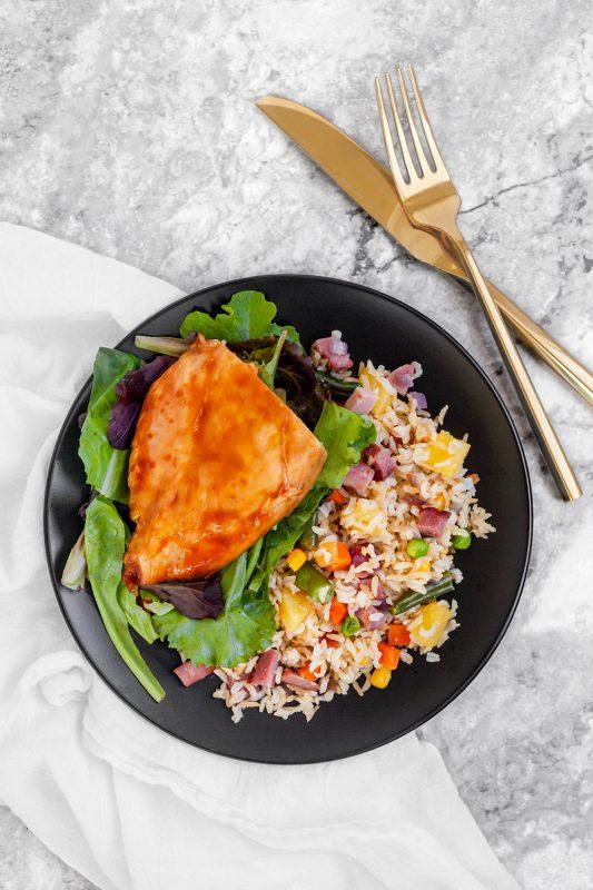 Sheet Pan Teriyaki Chicken and Pineapple Fried Rice