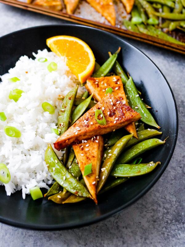 Orange Sesame Tofu and Snap Peas