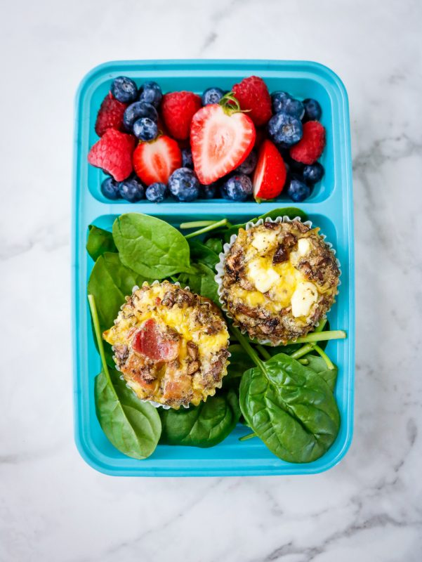 Portobello Mushroom Bacon and Feta Egg Cups