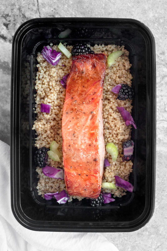 Baked Salmon with Blackberry Quinoa Salad