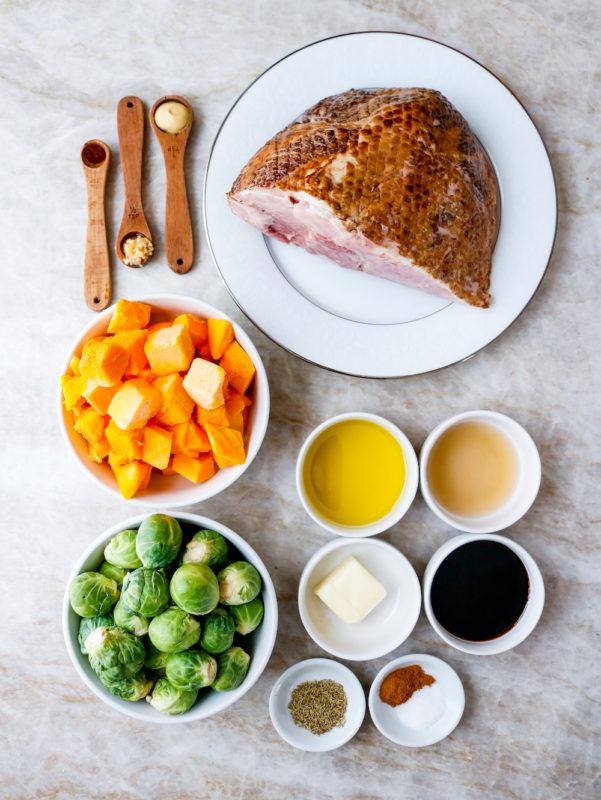 Air Fryer Molasses Dijon Ham with Roasted Vegetables