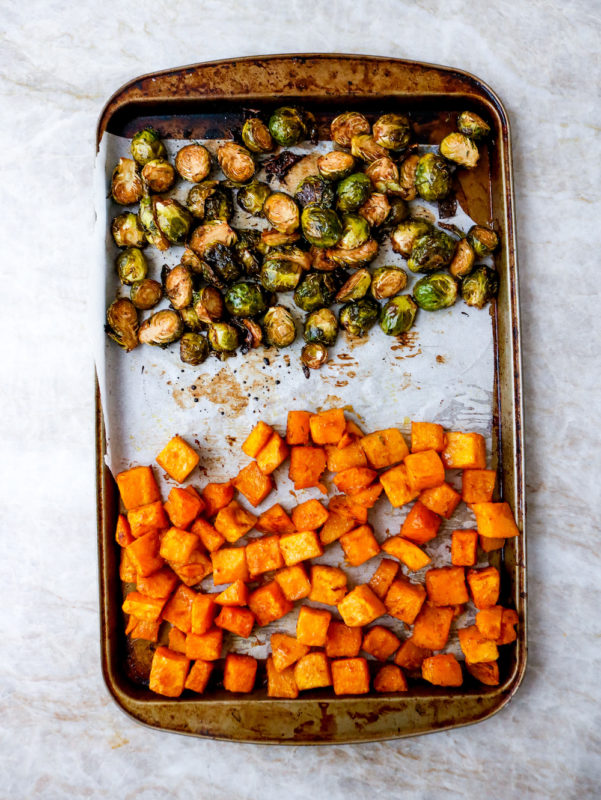 Air Fryer Molasses Dijon Ham With Roasted Vegetables