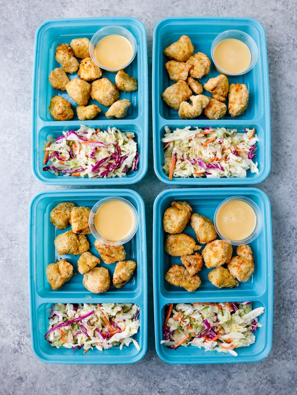 Air Fryer Popcorn Chicken with Coleslaw