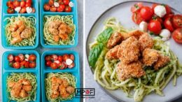 Pesto Noodles With Crispy Chicken Bites