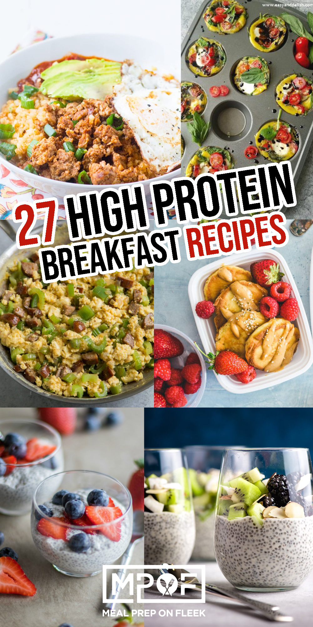 six different high protein breakfast ideas