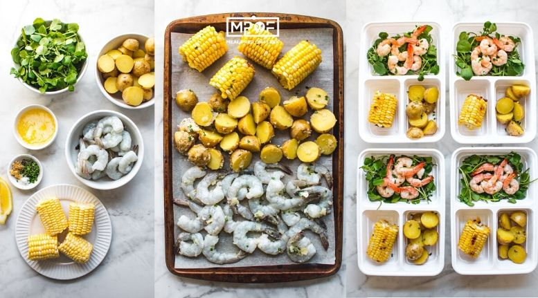 Sheet Pan Butter Herb Shrimp Corn and Potato Bake