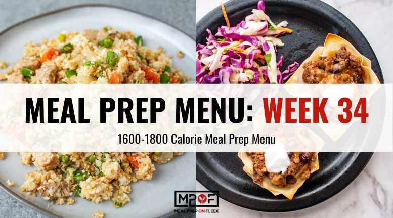 Meal Prep Menu for 1,600–1,800 Calorie Level