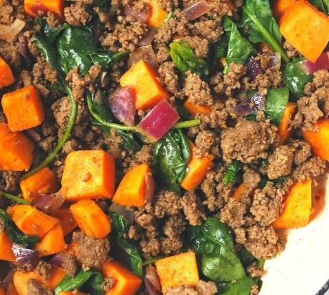 Taco Seasoned Ground Beef and Sweet Potato Hash