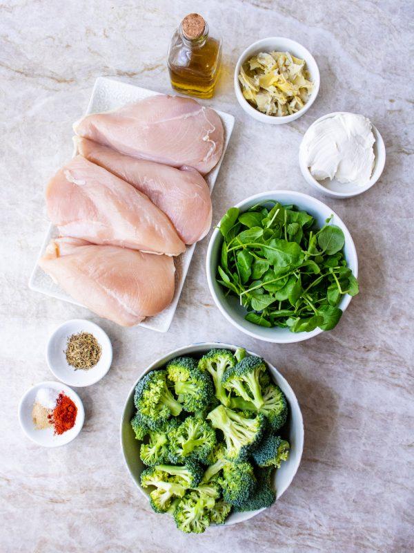 Watercress and Artichoke Stuffed Chicken Breasts