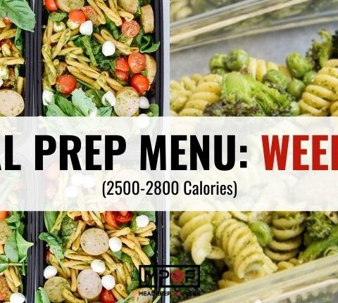 2500-2800 calorie Meal Prep Menu Week 44